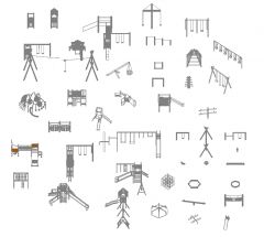 Playground Equipment 3D dwg - Collection 1