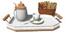 Tetera de porcelana y canasta de pan skp