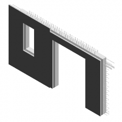 Precast wall-with door and window holes-with steel bars-5010mm revit family