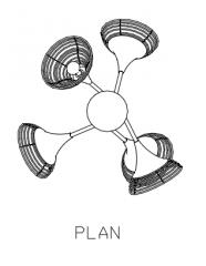 Rattan Made Chandelier Plan dwg Drawing