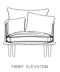 Rattan Made Sofa with 80mm Cushion Front Elevation dwg Drawing