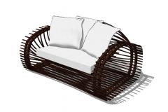 白い枕skpと籐の茶色の椅子