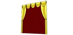 Rote Vorhänge mit gelbem Muster (72) skp
