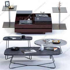 ダークとグレーの木製テーブルトップ3dsmaxのリビングルームテーブル