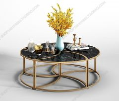 Living room golden table with dark marble table top 3ds max