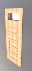 Single window with 4 wooden lite and vent light revit model