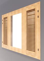 Wooden 3-door window with 2 door louver revit model