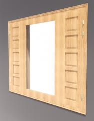 3-door window with door side( 5 wooden lite) revit model