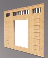 3-door window with door side and 3 vent light revit model