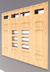 4-door window with 4 vent light revit model