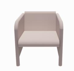 Single Seater White fabric Sofa revit family