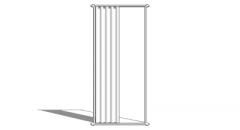 Single white long curtains(132) skp