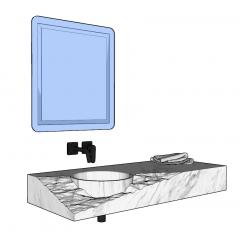 带镜子和毯子的水槽柜skp