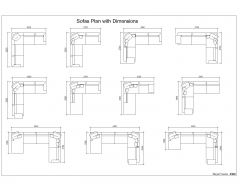Sofas Plan with Dimensions