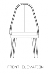 Soft Single Chair Rattan Furniture Front Elevation dwg Drawing