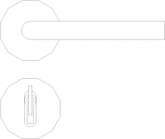Stainless Steel Lever Doorknob with Key Front Elevation dwg Drawing