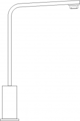 Stainless Steel Single Handle Mixer Left Side Elevation dwg Drawing