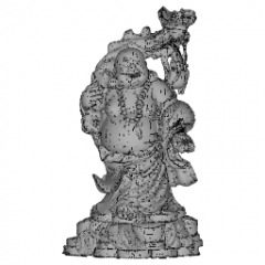 Standing Maitreya Buddha with big belly carry branches gourd on his back, ball on left hand skp
