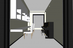 Studying room design with piano skp