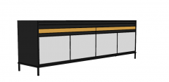 TV cabinet with light gray 4 hinge skp