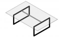 Mesa de café de vidrio con marco negro familia revit