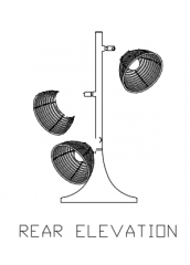 Table Lamp Shade Rattan Made Rear Elevation dwg Drawing
