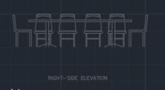 Tisch und Stuhl für Essbereich 0011 dwg Zeichnung