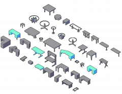 Tables and desks 3D CAD collection dwg