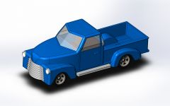 Toy pickup truck model in solidworks