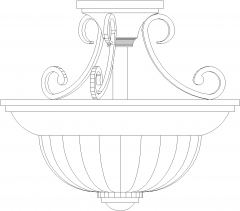 Traditional Dining Light Rear Elevation dwg Drawing