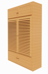 Wooden cabinet with louver door and drawer revit family