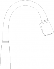 Two Way with Filtered Water Kitchen Faucet Left Side Elevation dwg Drawing