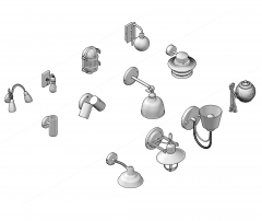 Collezione di CAD 3D per lampade da parete DWG
