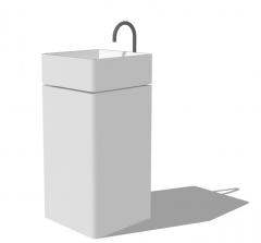 White cube bathroom vanity sink skp
