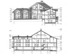 Wooden Hotel Building Sections & Elevation .dwg