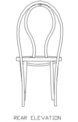 Wooden Rattan Dining Chair Rear Elevation dwg Drawing
