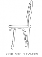 Wooden Rattan Dining Chair Right Side Elevation dwg Drawing