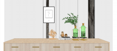 Wooden cabinet with green vases, chicken bowling and bamboo rubic skp