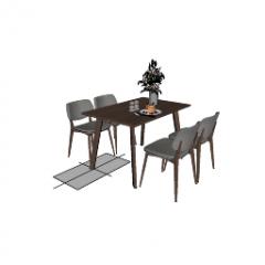 Tavolo da pranzo con gambe in legno e 4 sedie in pelle skp