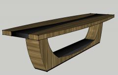 Rechteckiger Holztisch mit mittigem Leder-Skp