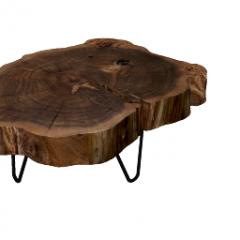 Mesa de madeira com velhos troncos de árvore de mesa skp
