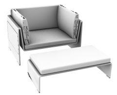 Sessel mit verbundener Beinstütze 3d Modell .3dm Format