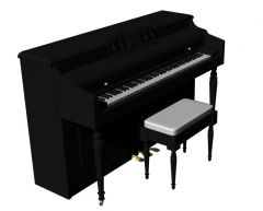 large simple designed baby grand piano 3d model .3dm format