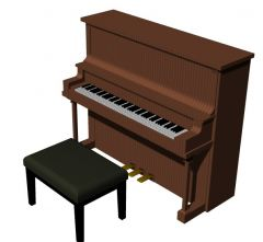 modern wooden designed baby grand piano 3d model .3dm format