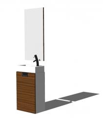 Раковины для умывальника заменяют деревянный шкаф с прямоугольным зеркалом skp