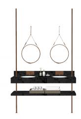 Waschbecken mit braunem Eisenhahn und hängendem Kreisspiegel skp