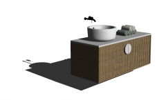 円形の洗面台とローリングタオルskpのバスルームの洗面化粧台シンク