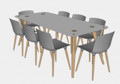 wooden table and chairs sketchup