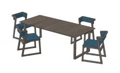Gray wooden table and chairs with blue cushion sketchup