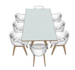 Wooden rectangle table with 8 chairs sketchup